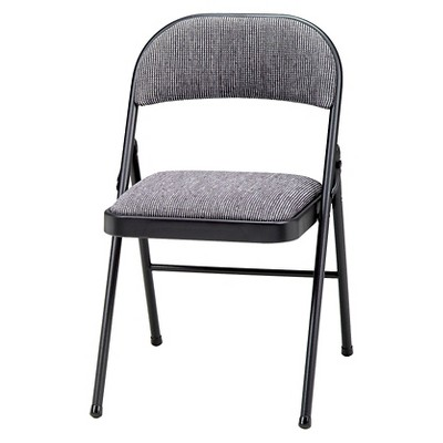 4 Piece Deluxe Fabric Padded Folding Chair Black Lace Frame And Mist