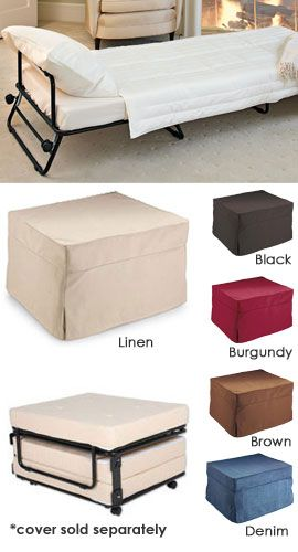 Fold-Out Ottoman Bed Hide a guest bed in plain sight! Ottoman by day