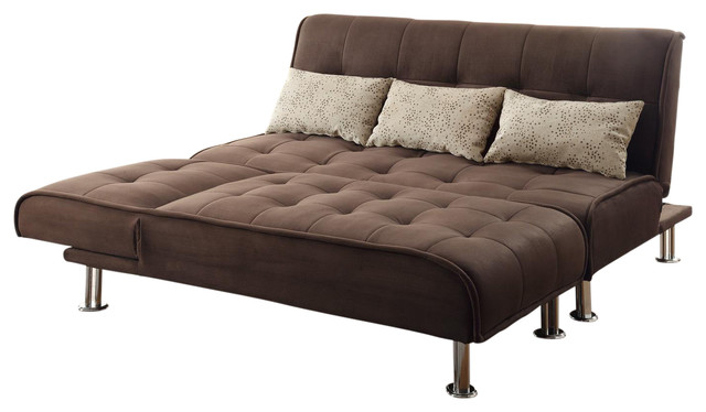 Brown Microfiber 2-Piece Sectional Sofa Futon Sleeper Pillow Set