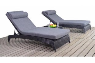 Two Black Rattan Garden Sun Loungers & Charcoal Cushions | Gardenbox