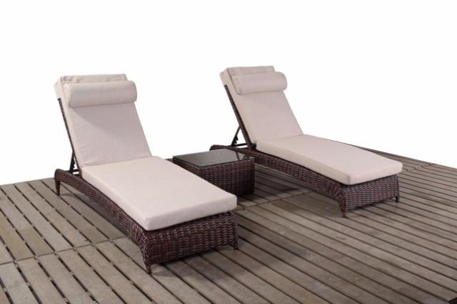 Two Dark Brown Rattan Garden Sun Loungers | Falmouth Range | Gardenbox