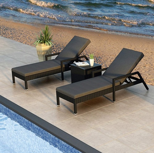 Factory direct sale Wicker Pool Furniture Garden Loungers Reclining