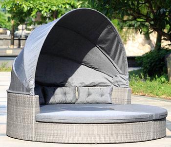 Round Garden Lounge Set Pe Wicker Poolside Double Sun Lounger