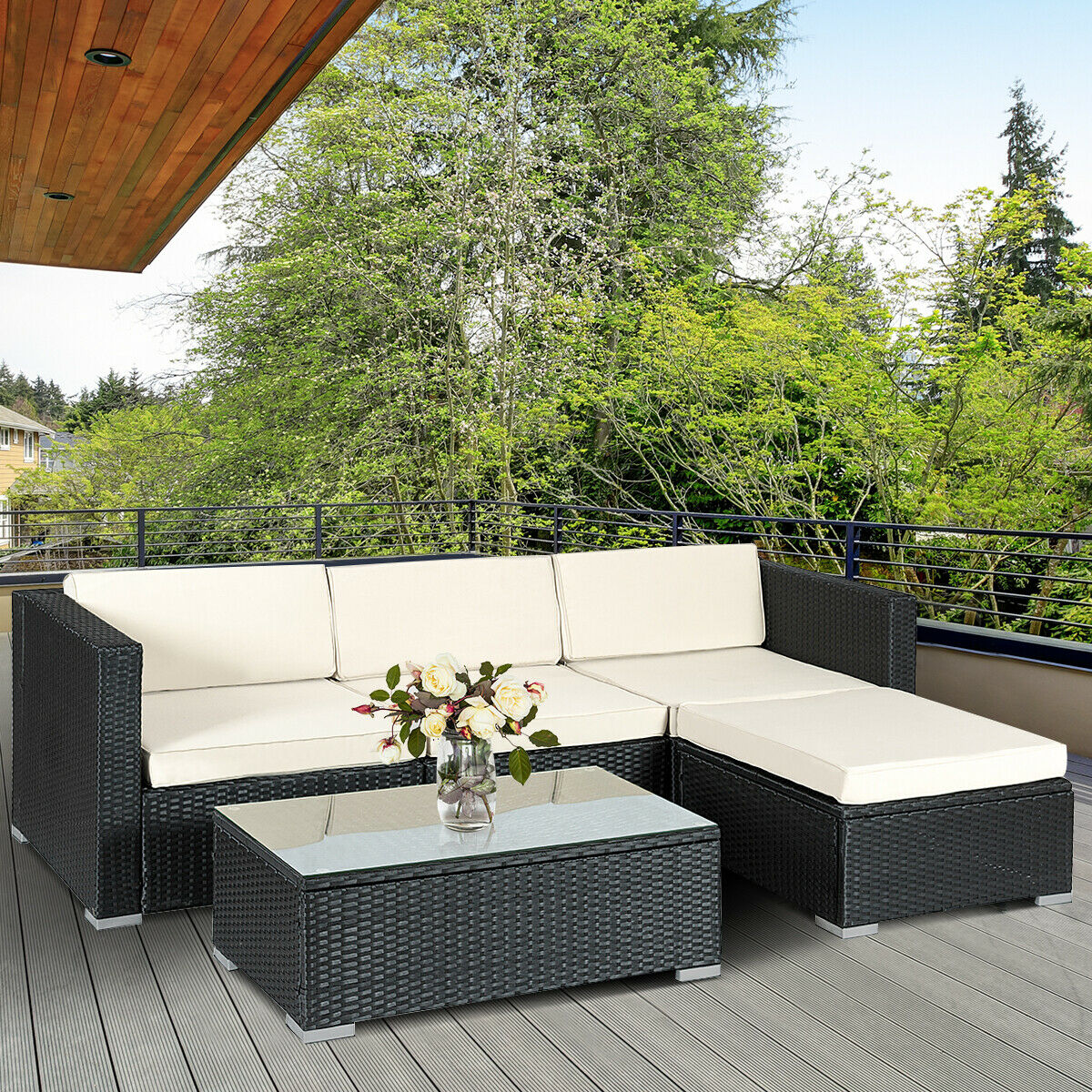 Costway 5 PCS Patio Furniture Set Rattan Wicker Table Shelf Garden