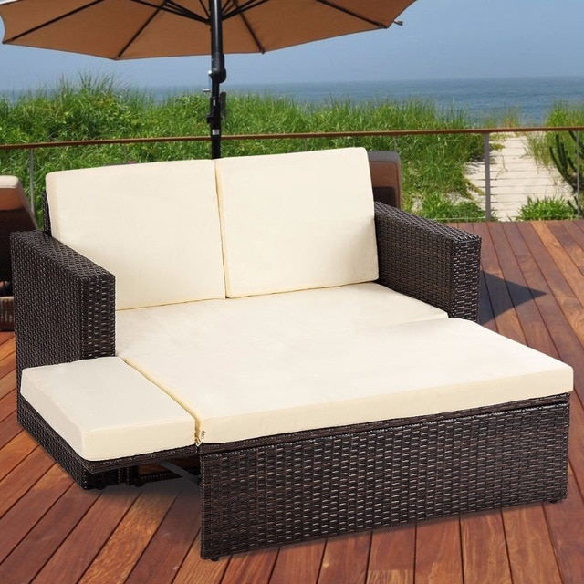 Giantex 2PCS Patio Rattan Loveseat Sofa Ottoman Daybed Garden