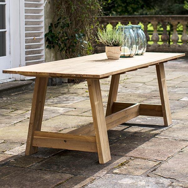 Whitcombe Teak Garden Trestle Table | Modish Living
