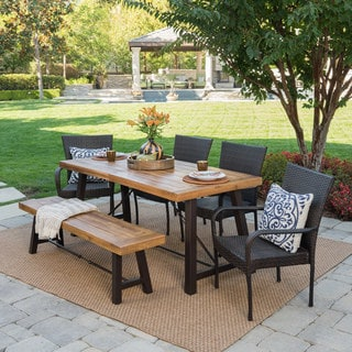 Shop Salons Outdoor 6-Piece Rectangle Wicker Wood Dining Set by