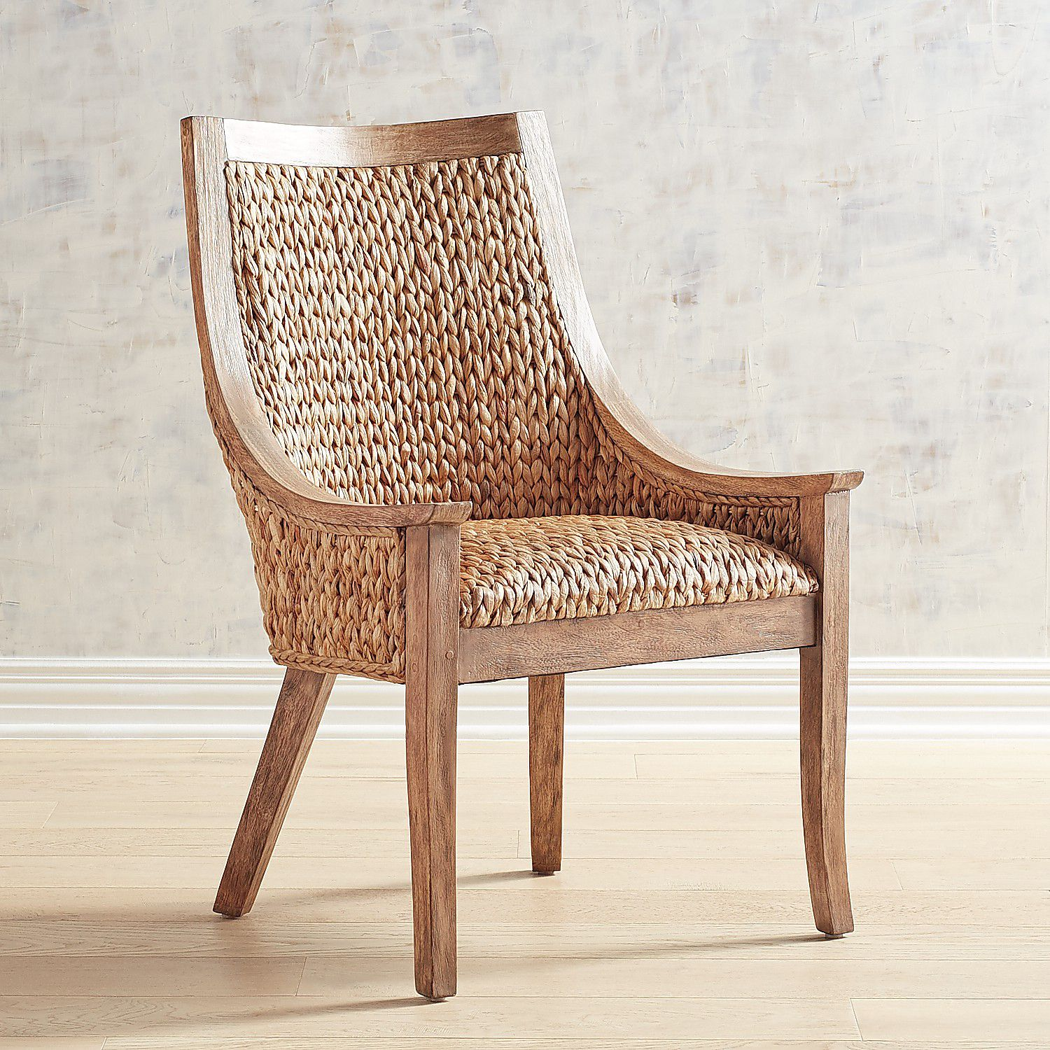 Cinta Wicker Dining Chair with Natural Stonewash Wood | Pier 1