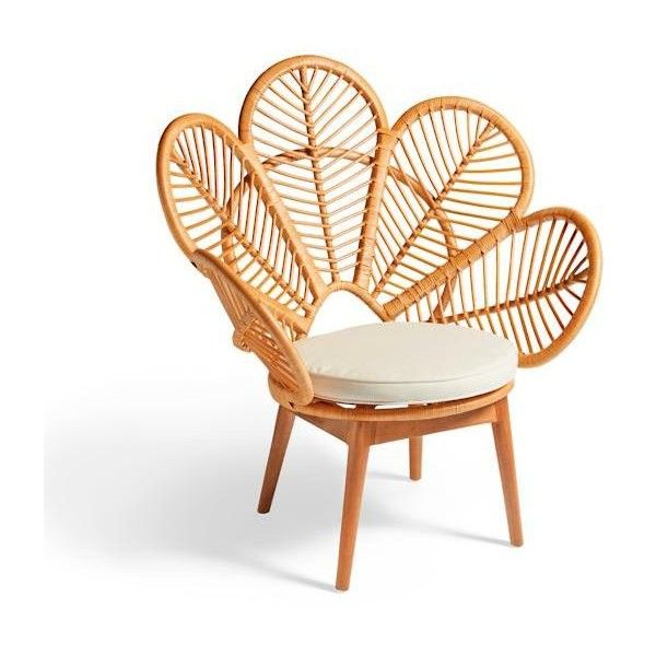 Grandin Road Daisie Rattan Chair - Natural ($369) ❤ liked on