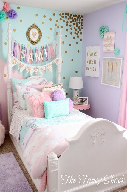 The Fancy Shack: Pastel Girls Room Makeover | Pastel Girls Room
