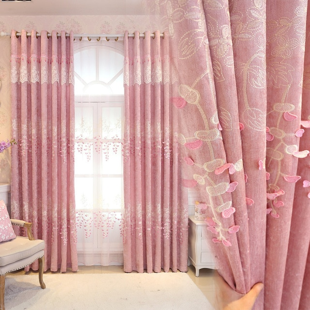 Pink Princess Curtains for Girls Room Flocked flower Comfortable