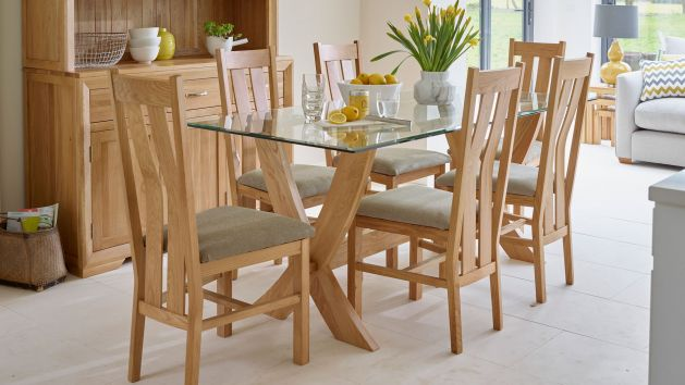 Glass Dining Table and Chairs | Glass Dining Table Sets | Oak