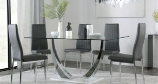 Peake Glass and Chrome Dining Table (White Gloss Base) with 4 Leon
