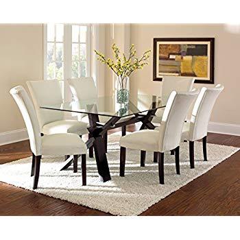 Amazon.com - Steve Silver Company Berkley Glass Top Dining Table, 42