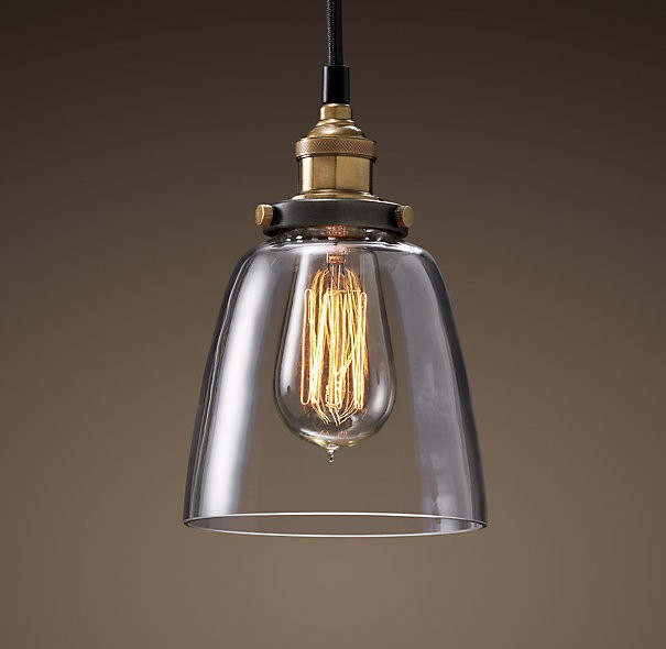 Vintage Pendant Light Glass Lamp Shade With Copper Bulb Holder - Buy