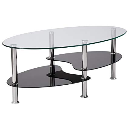 Amazon.com: Flash Furniture Hampden Glass Coffee Table with Black