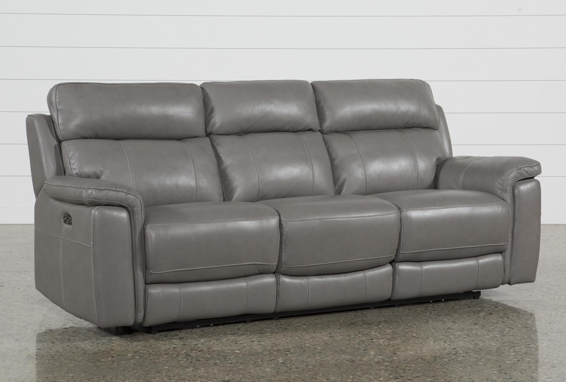 Dino Grey Leather Power Reclining Sofa W/Power Headrest & Usb