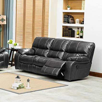 Amazon.com: Roundhill Furniture EWA Leather Air Reclining Sofa, Grey