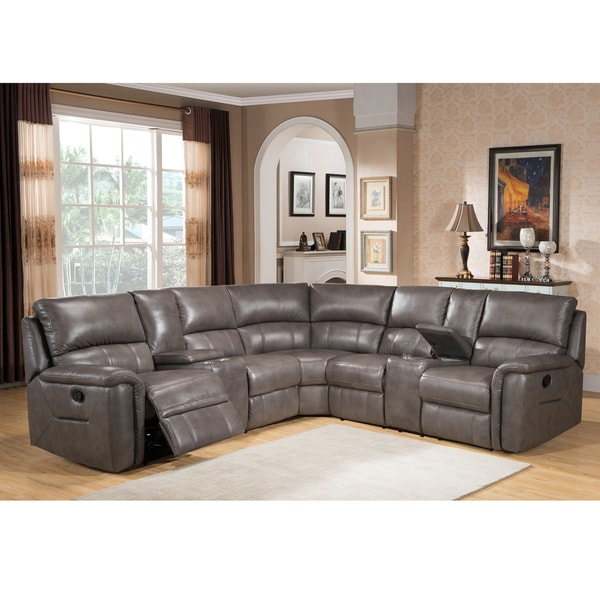 Shop Cortez Premium Top Grain Gray Leather Reclining Sectional Sofa