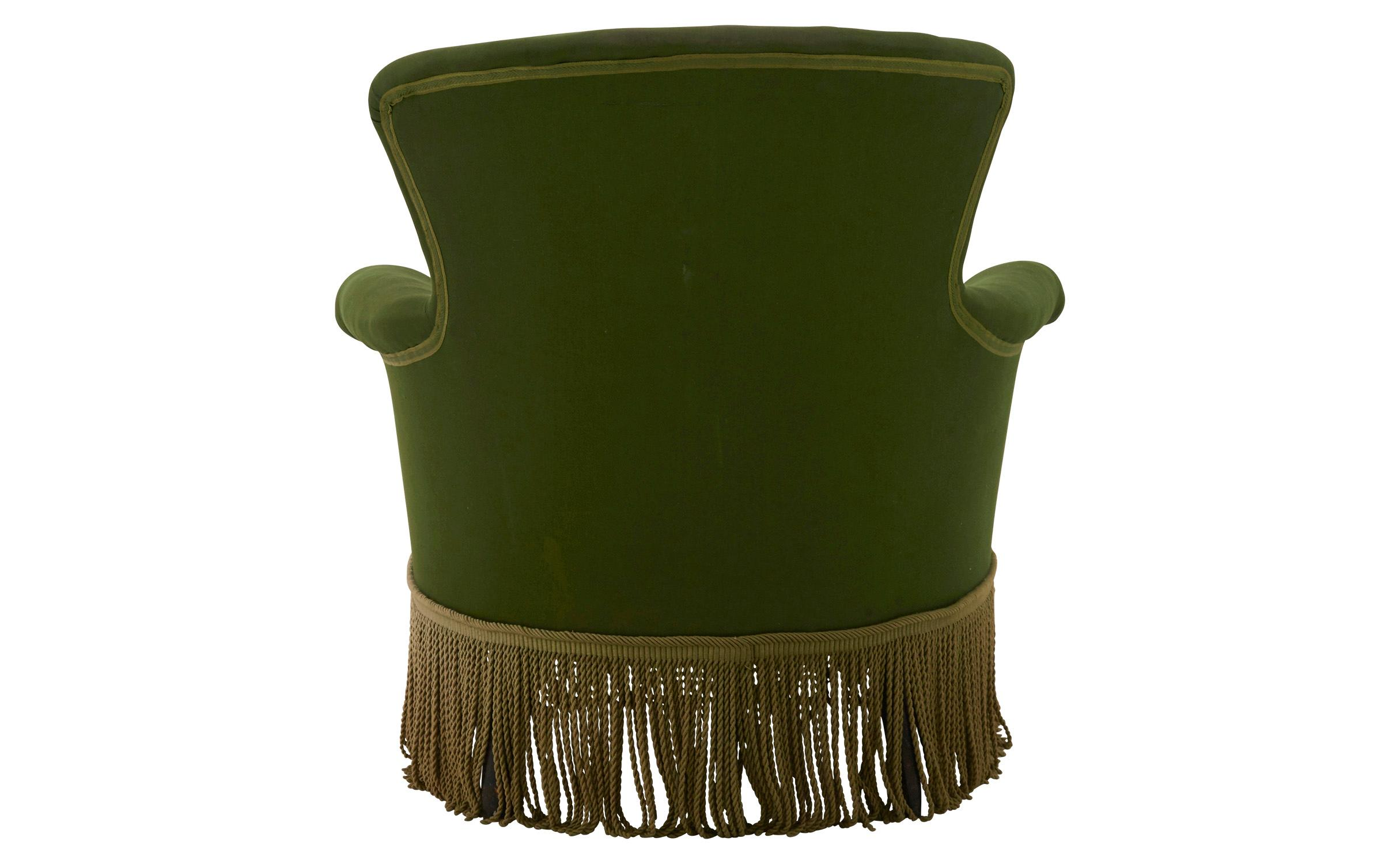 French Victorian Green Armchair with Bullion Fringe For Sale at 1stdibs