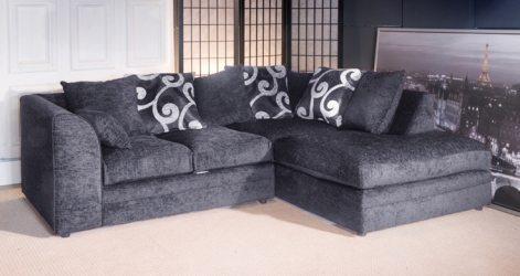 Stanton Chenille Fabric Corner Sofa - Grey - High Quality Cheap