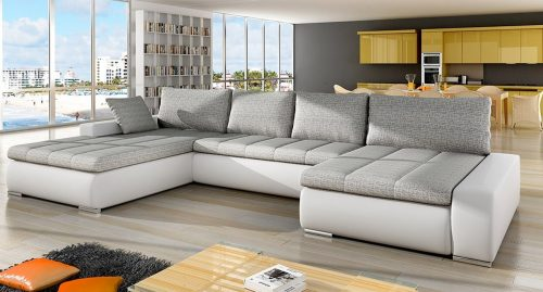 Carson Fabric Corner Sofa Bed White and Grey - Mega Deals UK