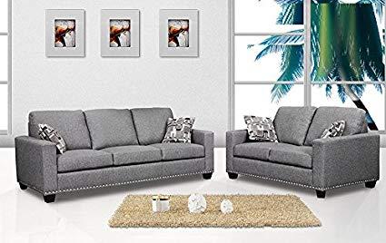 Amazon.com: 2 Piece Sofa Set Sofa & Loveseat Dark Grey Color Fabric