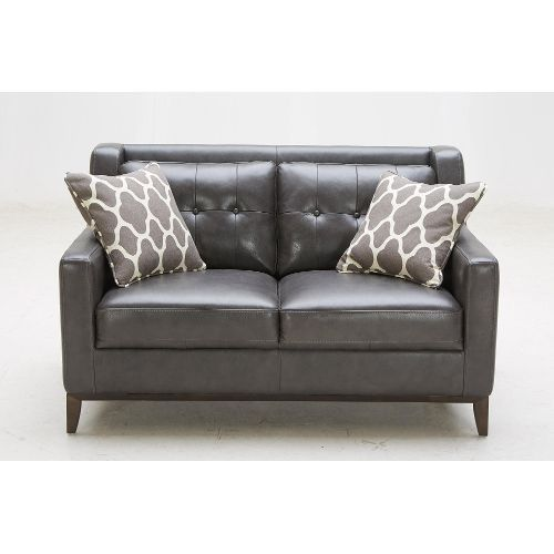 1838B-2(2a)CHARCLV Nigel 57 Charcoal Leather Loveseat, RC Willey