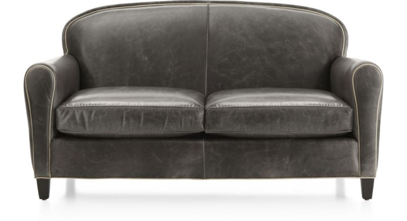Eiffel Grey Leather Loveseat + Reviews | Crate and Barrel