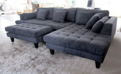 Amazon.com - 3pc New Modern Dark Grey Microfiber Sectional Sofa