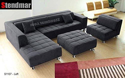 Amazon.com: 4pc Modern Dark Grey Microfiber Sectional Sofa Chaise
