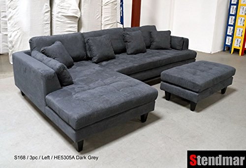 Grey Microfiber Sectional Sofa For Living Room Carehomedecor