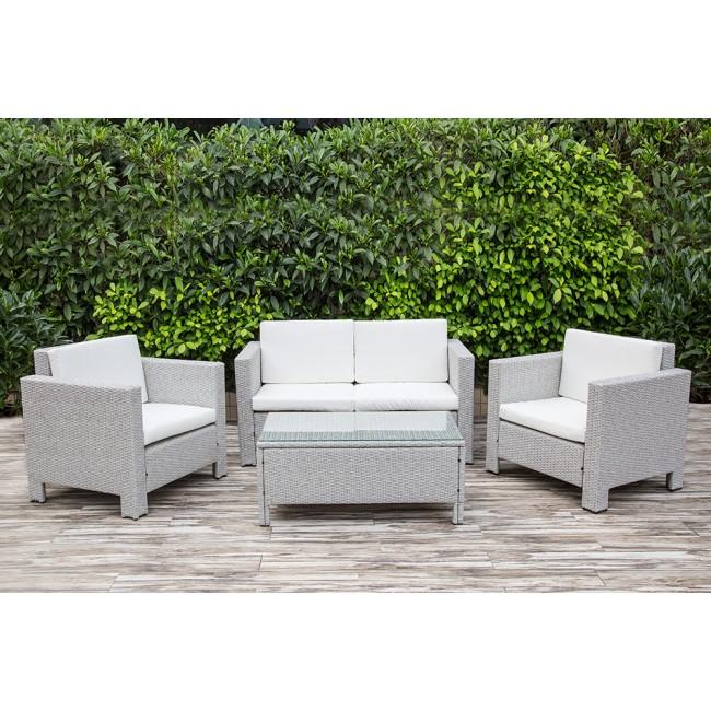 Five Piece Grey Rattan Garden Furniture Set