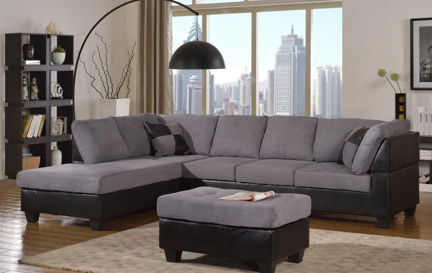 Master Furniture Living Room Two-tone grey sectional sofa. 2321