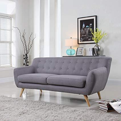 Amazon.com: Mid-Century Modern Linen Fabric Sofa, Loveseat in Colors