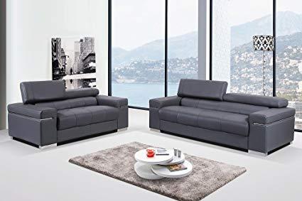 Amazon.com: J&M Furniture Soho Gray Leather Sofa & Loveseat with