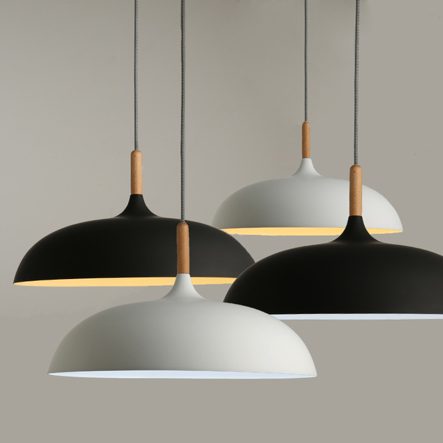 Minimalist Modern Pendant Lamps E27 Wood & Aluminum Lampshade