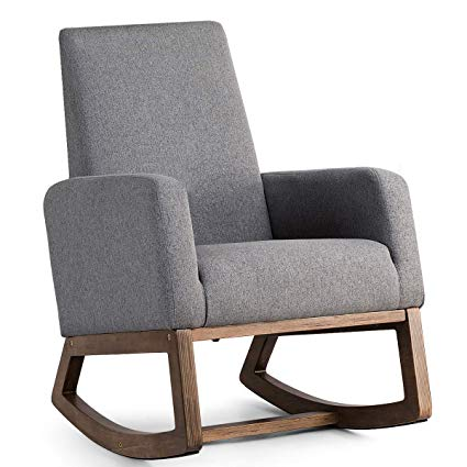 Amazon.com: Giantex Upholstered Rocking Chair Modern High Back