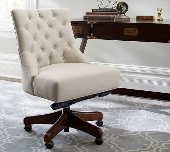 Hayes Tufted Swivel Desk Chair | Pottery Barn