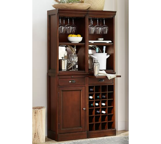 Modular Bar System with 2 Standard Hutches, 1 Cabinet Base, and 1