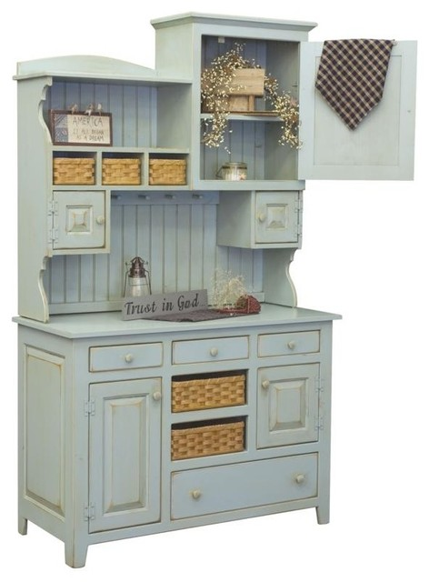 Annies 2-Piece Hutch, 465-002-2TBMC - Farmhouse - China Cabinets And