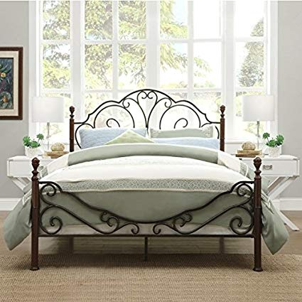 Amazon.com: LeAnn Graceful Scroll Bronze Iron Bed Frame (Twin