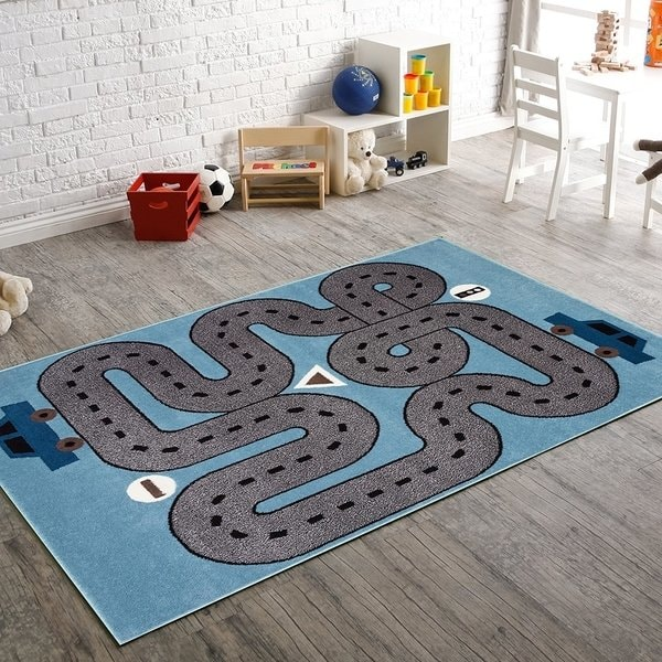 Shop LR Home Whimsical Racing Roadways L.Blue Kids Area Rug ( 5' x 7