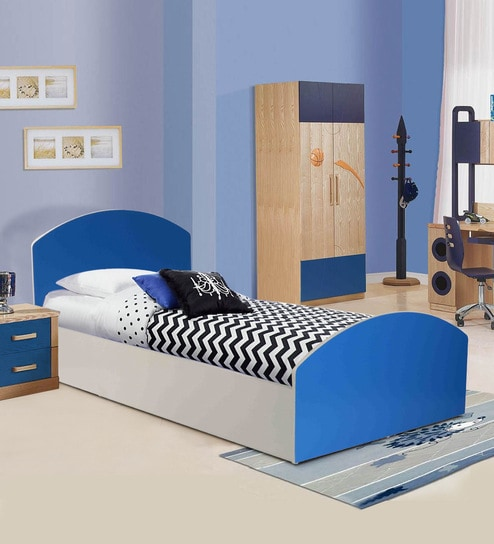 Buy Aqua Splash Kids' Bed in White & Blue Finish by Kids Fun