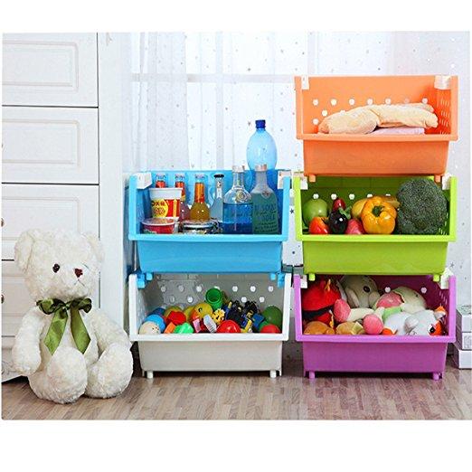 Kanstar 3 Baskets Kids' Toys Storage Organizer with Wheels Can Move