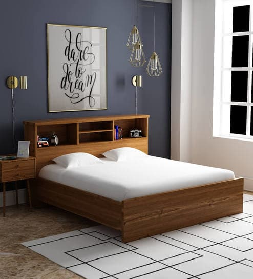 Buy Kimura King Size Bed in Teak Finish by Mintwud Online - Modern