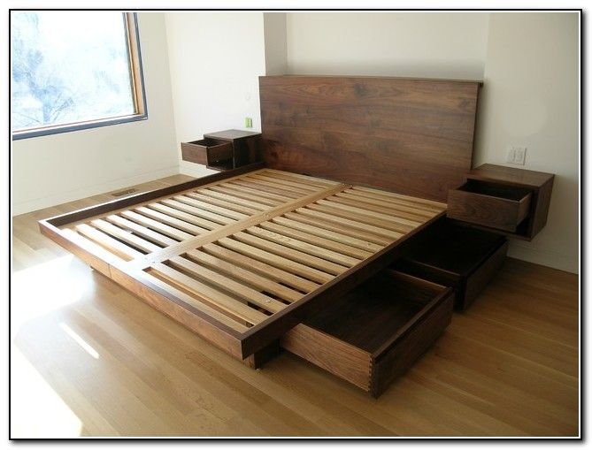 Furniture, Wooden King Platform Bed Frame With Drawers Underneath