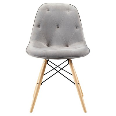 Grey Upholstered Eames Dining Kitchen Chairs - Set Of 2 - Saracina