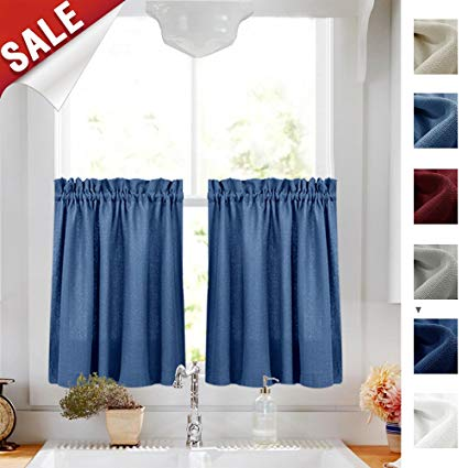 Amazon.com: Kitchen Curtains 36 Inches Long Semi Sheer Casual Weave