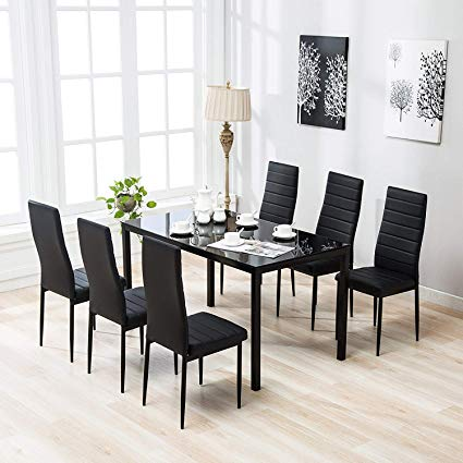 Amazon.com - Mecor 7 Piece Kitchen Dining Set, Glass Top Table with